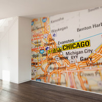 Chicago Map Wall Mural Decal