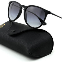 Ray-Ban RB4171 ERICA Unisex Gradient Aviator Sunglasses (Rubber Black Frame, Grey Gradient Lens 622/8G)