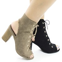 Jamie35 By Wild Diva, Peep Toe Corset Lace Up Cut Out High Heel Ankle Booties