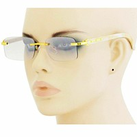 Retro Wood Buffs Vintage Style 90s Gangster Rimless Clear Lens Square EyeGlasses