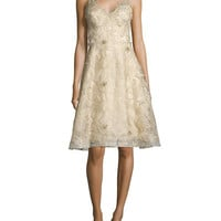Marchesa Notte Sleeveless Floral-Embroidered Dress