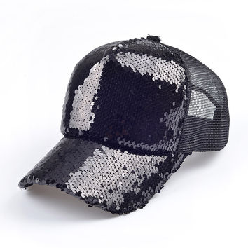 Black Sequins Mesh Net Sparkling Leisure Cap