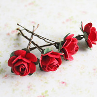 Red Roses Hair Pins. Paper Flowers. Woodland. Whimsical. Valentines Day,  Weddings. Hair Accessories, Winter Wedding