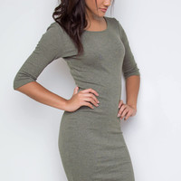 Maison Ribbed Dress - Olive