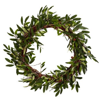 """Nearly Natural 20"""" Olive Wreath"""