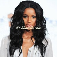 Charming Long Centre Parting Synthetic Vogue Shaggy Wavy Black Capless Wig For Women