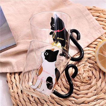 8.5oz Creative Cat Glass Coffee Mug