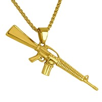 14K Gold Finish Steel AK-47 Gun Charm Chain