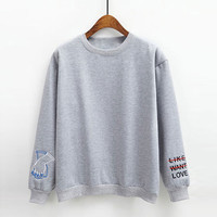 Letter Embroidered Fleece Pullover Sweatshirt