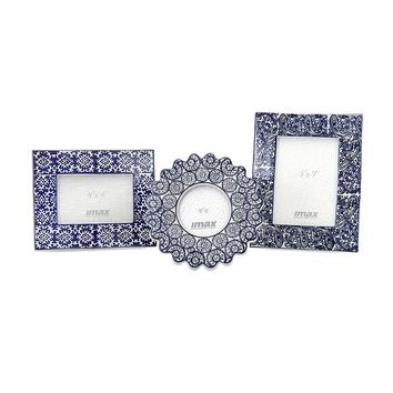Blue and White Ceramic Frames - Set of 3