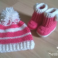 Crochet baby set, baby girl set, baby crochet set, hat and booties set, photo prop 0-3m. Free Shipping!