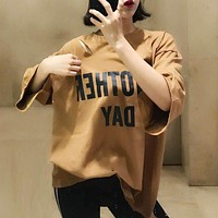 Women Loose Casual Simple Print Letter Ripped Middle Sleeve T-shirt Top Tee