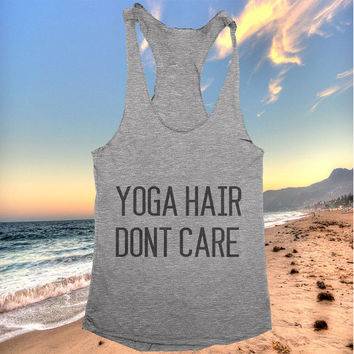 Yoga hair dont care racerback tank top yoga gym fitness fashion tumblr clothes work out top