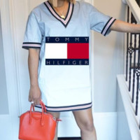 TOMMY HILFIGER Summer Fashion Women Casual Print Short Sleeve Round Collar Dress