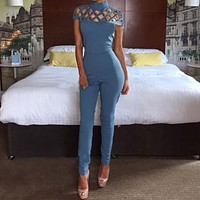 2017 New Women Bodysuits Sexy Bodycon Choker Hollow Turtle Neck Long Bottom Playsuit Ladies Jumpsuit Women Rompers