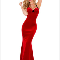 Winter Hot Sexy Red Halter Bodycon Party Mermaid Maxi Dress Backless New Year Women Fantasy Christmas Costumes Outfit