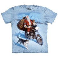 SANTA CLAUS BIKER The Mountain Funny Riding Motorcycle Christmas T-Shirt S-3XL