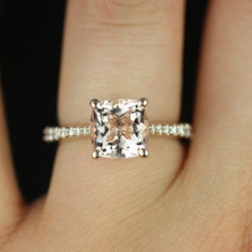 B.Taylor Original 14kt Rose Gold Cushion Cut Morganite and Diamond Cathedral Engagement Ring (Other metals and stone options available)
