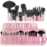 24 pcs Professional Soft Cosmetic Makeup Brush Set + Pink Pouch Bag Case