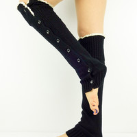 Black Leg Warmers Socks Boot Toppers Lace Buttons