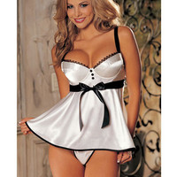 Bra Top With Satin Front White