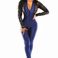 Blue Long Sleeve Leatherette Fishnet Bodycon Jumpsuit