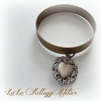 Antiqued Brass Bangle Bracelet with Repurposed Heart Charm