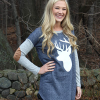 Reindeer Top with Elbow Patches - Navy