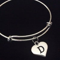 Stamped Heart Letter Initial Charm Expandable Adjustable Wire Bangle Bracelet Trendy Gift Jules Obsession