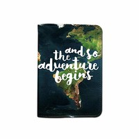 And So The Adventure Begins Leather Passport Holder - Passport Protector - Passport Cover - Passport Wallet_SUPERTRAMPshop