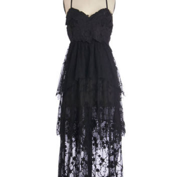 ModCloth LBD Long Spaghetti Straps Maxi Spanish Castle Majestic Dress
