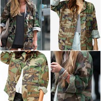 Vintage Camo Jacket Authentic Military Army Issued Slouchy Grunge Button Down Shirt Jacket All Sizes