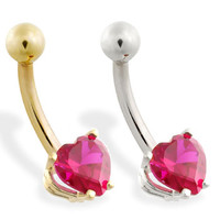 14K Gold belly ring with ruby red 6mm CZ heart
