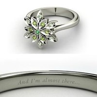 925 Sterling Silver Disney inspired Tiana Princess Engagement Rings with CZ