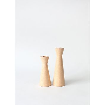 "Set of 2 - Modern Wooden Taper Candle Holders - 5.5-7"" Tall"