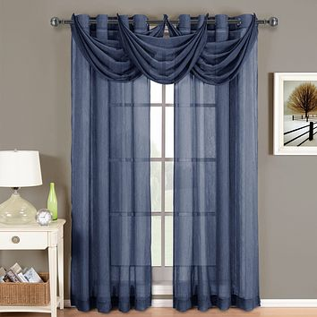 Navy 24x24 Abri Grommet Crushed Sheer Curtain (Valance Only)