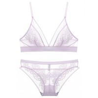Dainty Floral Back Detail Bralette Brief Panty Set - Lavender
