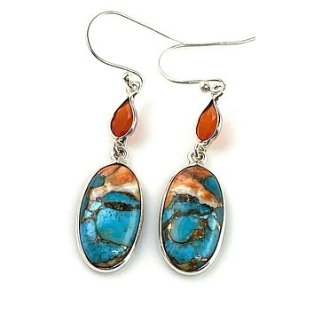 Spiny Oyster Blue Turquoise & Carnelian Sterling Silver Earrings