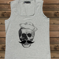 Women's skull tank , Ladies gray tank Screen Printing tank, Women's tank, tank, Size S, M, L