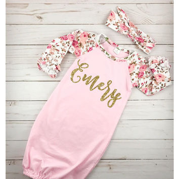 Personalized Newborn Gown Baby Girl Gown Baby Girl Take Home Outfit Newborn Hospital Outfit Baby Shower Gift Floral Pink Newborn Gown
