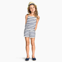 Cool Summer Navy Stripes Butterfly Ruffle Spaghetti Strap Romper [4920518660]