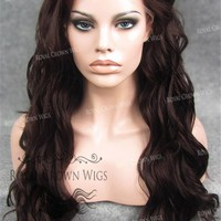24 inch Synthetic Lace Front with Wave Texture in Burgundy Brown