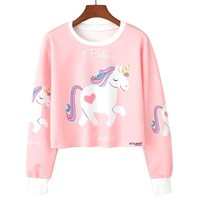 Kawaii Printed Casual Crop Top Long Sleeve