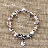 YILIANFEI Silver Plated Female  Bracelet with Flower Pendant Charms Pandora Bracelets for girls Best Gift BT0011