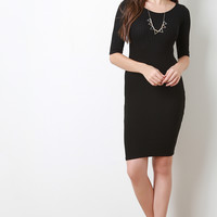 Simple Rib Knit Bodycon Midi Dress