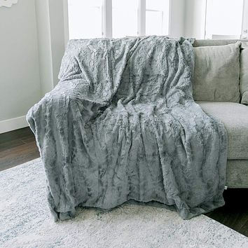 """GRACED SOFT LUXURIES Softest Warm Elegant Cozy Faux Fur Home Throw Blanket (Solid Gray, Extra Large 60"""" x 80"""") Solid Gray Extra Large 60"""" x 80"""""""