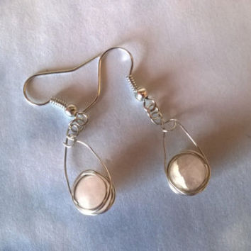 Rose Quartz gemstone earrings artisan wire wrapped natural stone dangle bead earrings pink crystal jewelry silver or gold wire