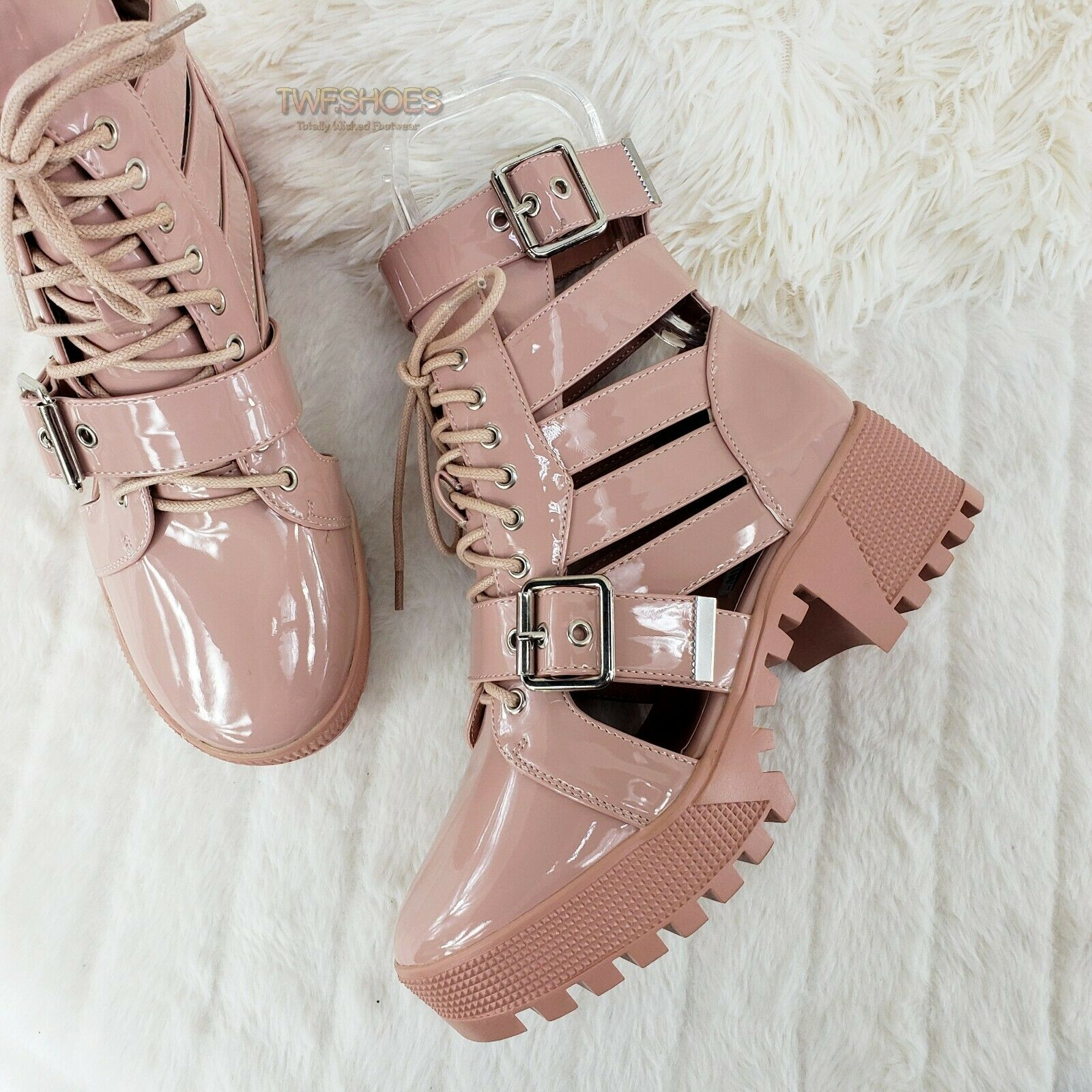 Image of CR Beyond Combat Platform Cut Out Ankle Boots Sandals Size 6-11 Nude