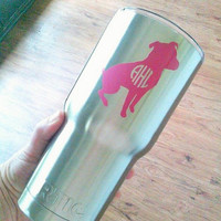 Monogram Decal, Dog Decal, Pet Decal, Name Decal, RTIC cup decal, Sticker for Cup