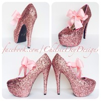 Pink Glitter High Heels, Bubblegum Platform Prom Pumps
